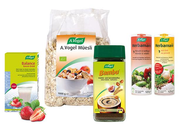A.Vogel Balance Basen-Drink, Bambu Getreidekaffee, Herbamare, Müesli
